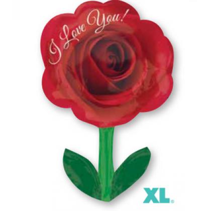 "S50 28"" I Love You Rose with Stem Junior Shape XL®"
