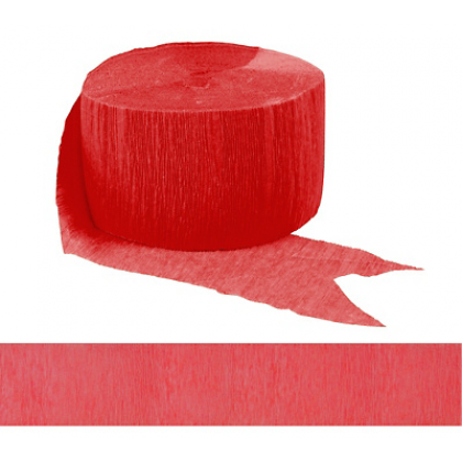 "1 3/4"" x 81' FR 81' Solid Crepe Streamers Apple Red"