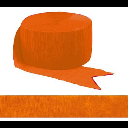 """1 3/4"""" x 81' FR 81' Solid Crepe Streamers Orange Peel"""