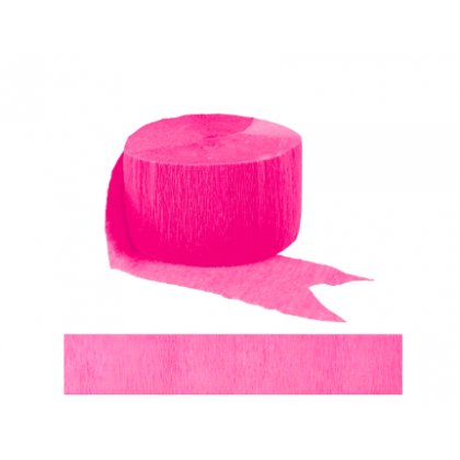 "1 3/4"" x 81' FR 81' Solid Crepe Streamers Bright Pink"
