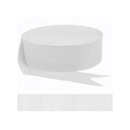 """1 3/4"""" x 81' FR 81' Solid Crepe Streamers Frosty White"""