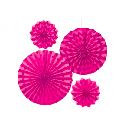 4 Paper Fans - New Pink