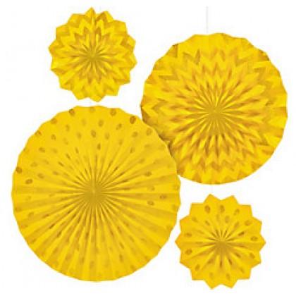 4 Paper Fans - Yellow Sunshine
