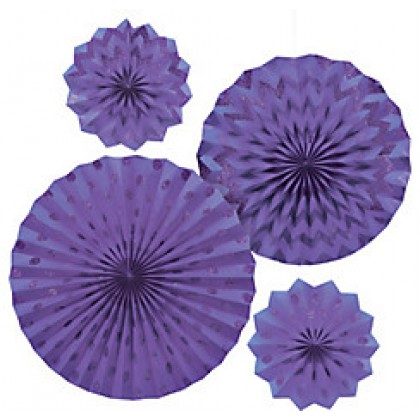 4 Paper Fans - New Purple