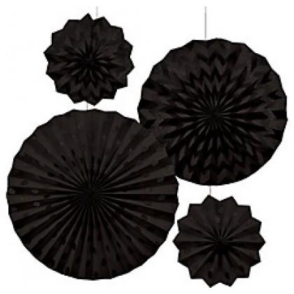 4 Paper Fans - Jet Black