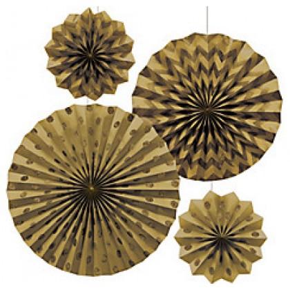 4 Paper Fans - Gold