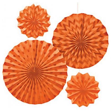 4 Paper Fans - Orange Peel