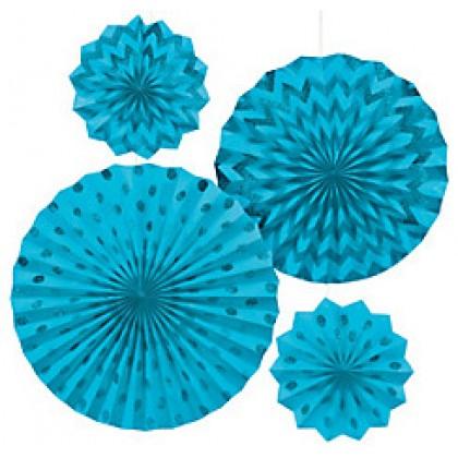 4 Paper Fans - Caribbean Blue