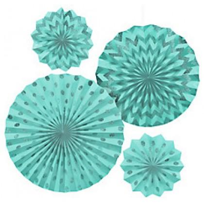 4 Paper Fans - Robin's-Egg Blue