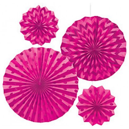 4 Paper Fans - Bright Pink