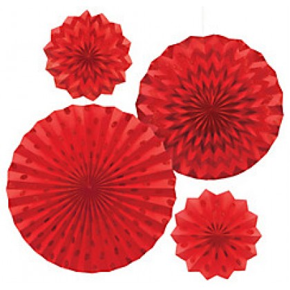 4 Paper Fans - Apple Red