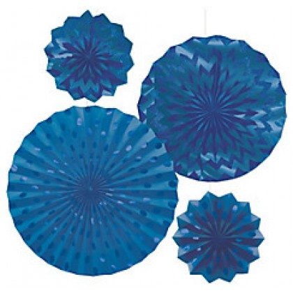 4 Paper Fans - Bright Royal Blue
