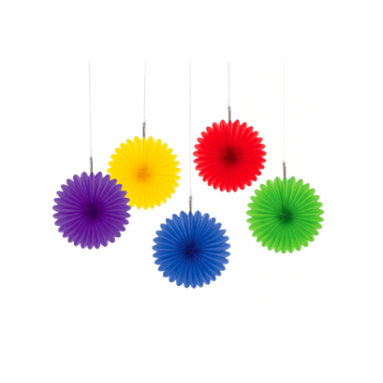 "6"" 6"" Mini Hanging Fan Decorations Rainbow"
