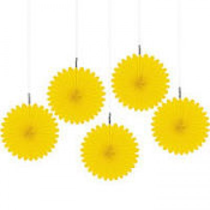 "6"" 6"" Mini Hanging Fan Decorations Sunshine Yellow"