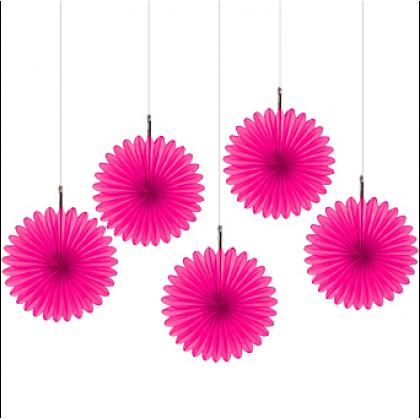 "6"" 6"" Mini Hanging Fan Decorations Bright Pink"
