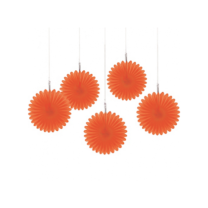 5 Mini Paper Fan Decorations - Orange Peel