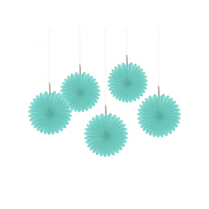 5 Mini Paper Fan Decorations - Robin's-Egg Blue