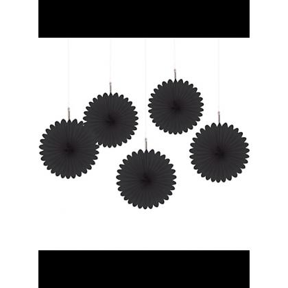 "6"" 6"" Mini Hanging Fan Decorations Jet Black"