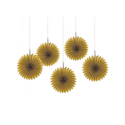 5 Mini Paper Fan Decorations - Gold