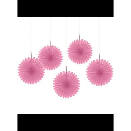 5 Mini Paper Fan Decorations - New Pink