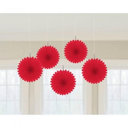 "6"" 6"" Mini Hanging Fan Decorations Apple Red"