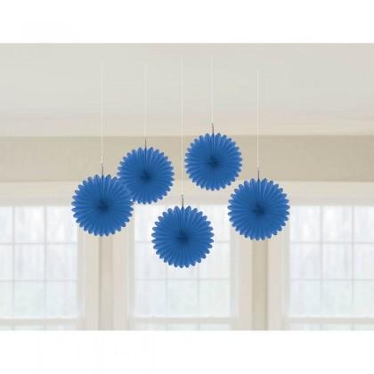 "6"" 6"" Mini Hanging Fan Decorations Bright Royal Blue"