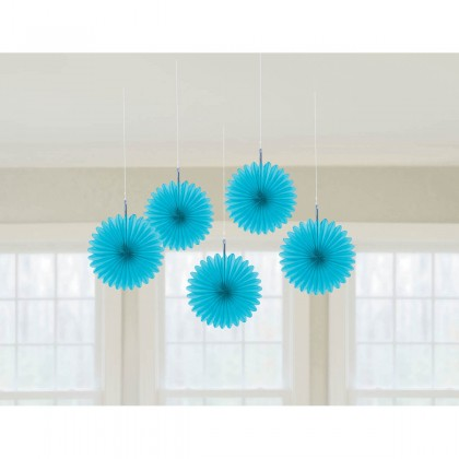 "6"" 6"" Mini Hanging Fan Decorations Caribbean Blue"