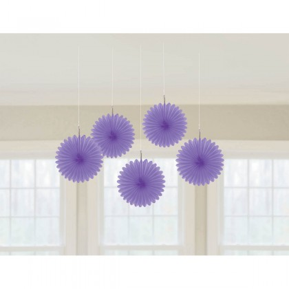 "6"" 6"" Mini Hanging Fan Decorations New Purple"