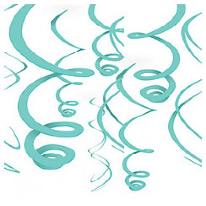 "22"" Plastic Swirl Decorations Robins Egg Blue"