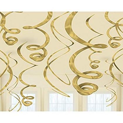 "22"" Plastic Swirl Decorations Gold"