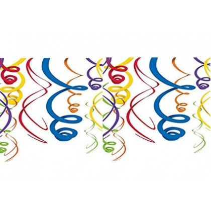 "22"" Plastic Swirl Decorations Rainbow"