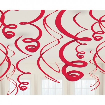 "22"" Plastic Swirl Decorations Apple Red"