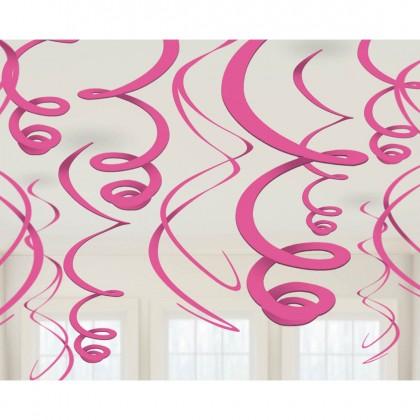 "22"" Plastic Swirl Decorations Bright Pink"