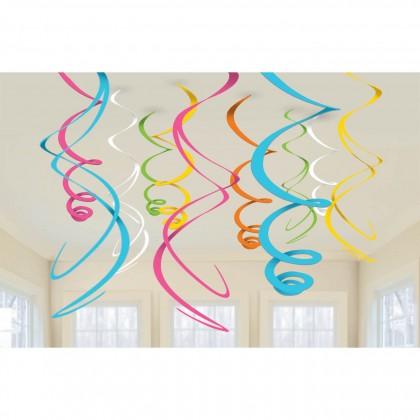 """22"""" Plastic Swirl Decorations Multi"""