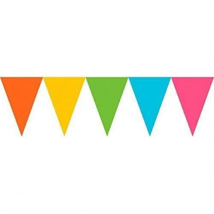 """24 Pennants, 7"""" x 6"""" Paper Pennant Banners - Multi"""