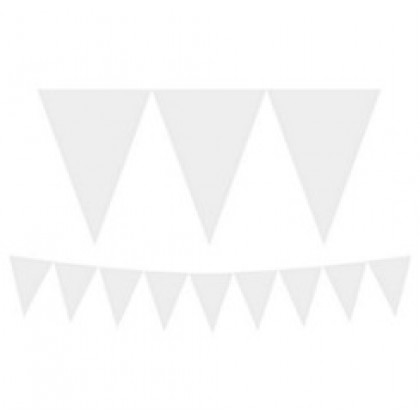 """24 Pennants, 7"""" x 6"""" Paper Pennant Banners - Frosty White"""