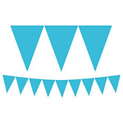 "24 Pennants, 7"" x 6"" Paper Pennant Banners - Caribbean Blue"