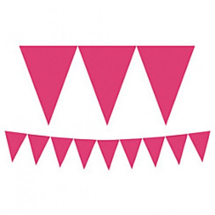 """24 Pennants, 7"""" x 6"""" Paper Pennant Banners - Bright Pink"""