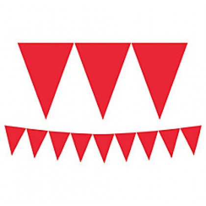 """24 Pennants, 7"""" x 6"""" Paper Pennant Banners - Apple Red"""