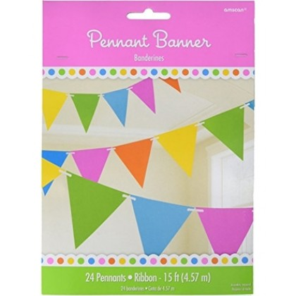 """24 Pennants, 7"""" x 6"""" Paper Pennant Banners - Rainbow"""