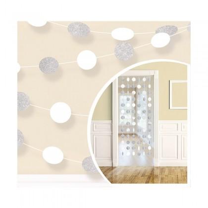 6 Round String Decorations - Frosty White