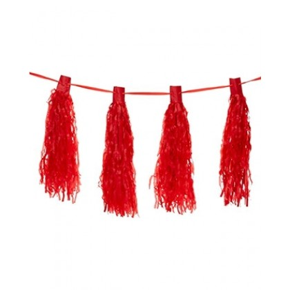10' Ribbon w/20 Tassels Paper Tassel Garlands - Apple Red