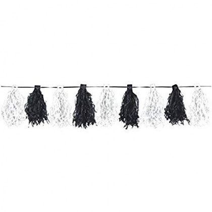 10' Ribbon w/20 Tassels Paper Tassel Garlands - Black & White