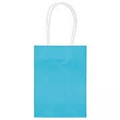 "5""H x 3 5/16""W x 2""D Kraft Paper Bags Caribbean Blue"