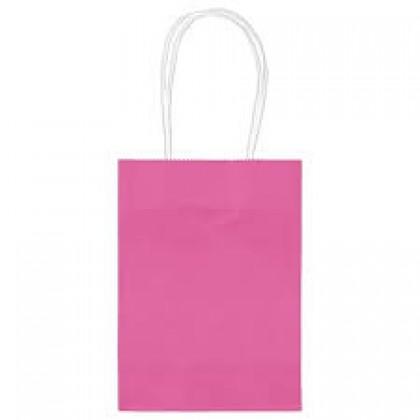 """5""""H x 3 5/16""""W x 2""""D Kraft Paper Bags Bright Pink"""
