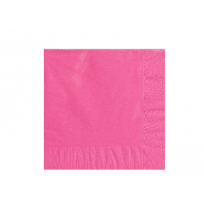 Bright Pink Solid 3-Ply Beverage Napkins - Paper