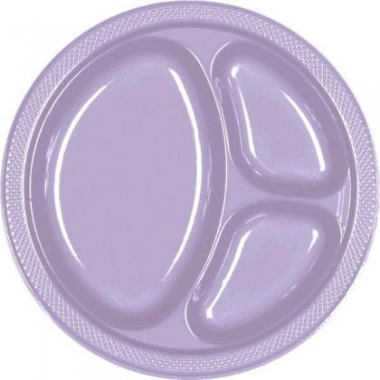 "Lavender Festive Occasion® Plastic Tableware Divded Plate, 10 1/4"""