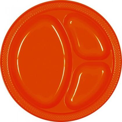 "Orange Peel Festive Occasion® Plastic Tableware Divded Plate, 10 1/4"""