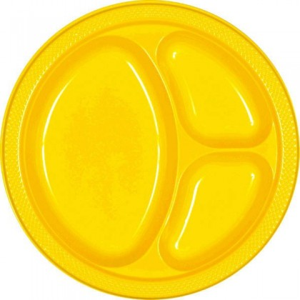 """Yellow Sunshine Festive Occasion® Plastic Tableware Divded Plate, 10 1/4"""""""