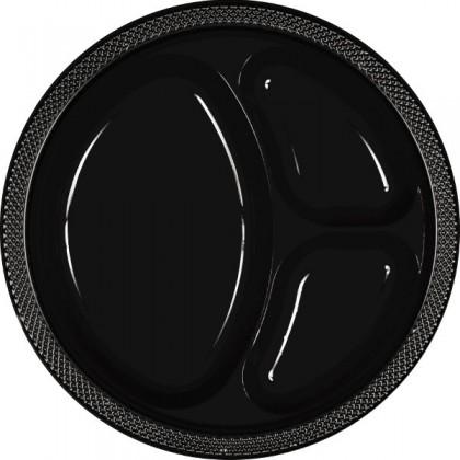"Jet Black Festive Occasion® Plastic Tableware Divded Plate, 10 1/4"""